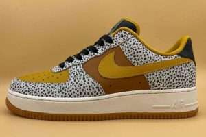 Brown-And-Orange-Air-Force-1-Sneaker-With-Safari-Print-on-Mudguard